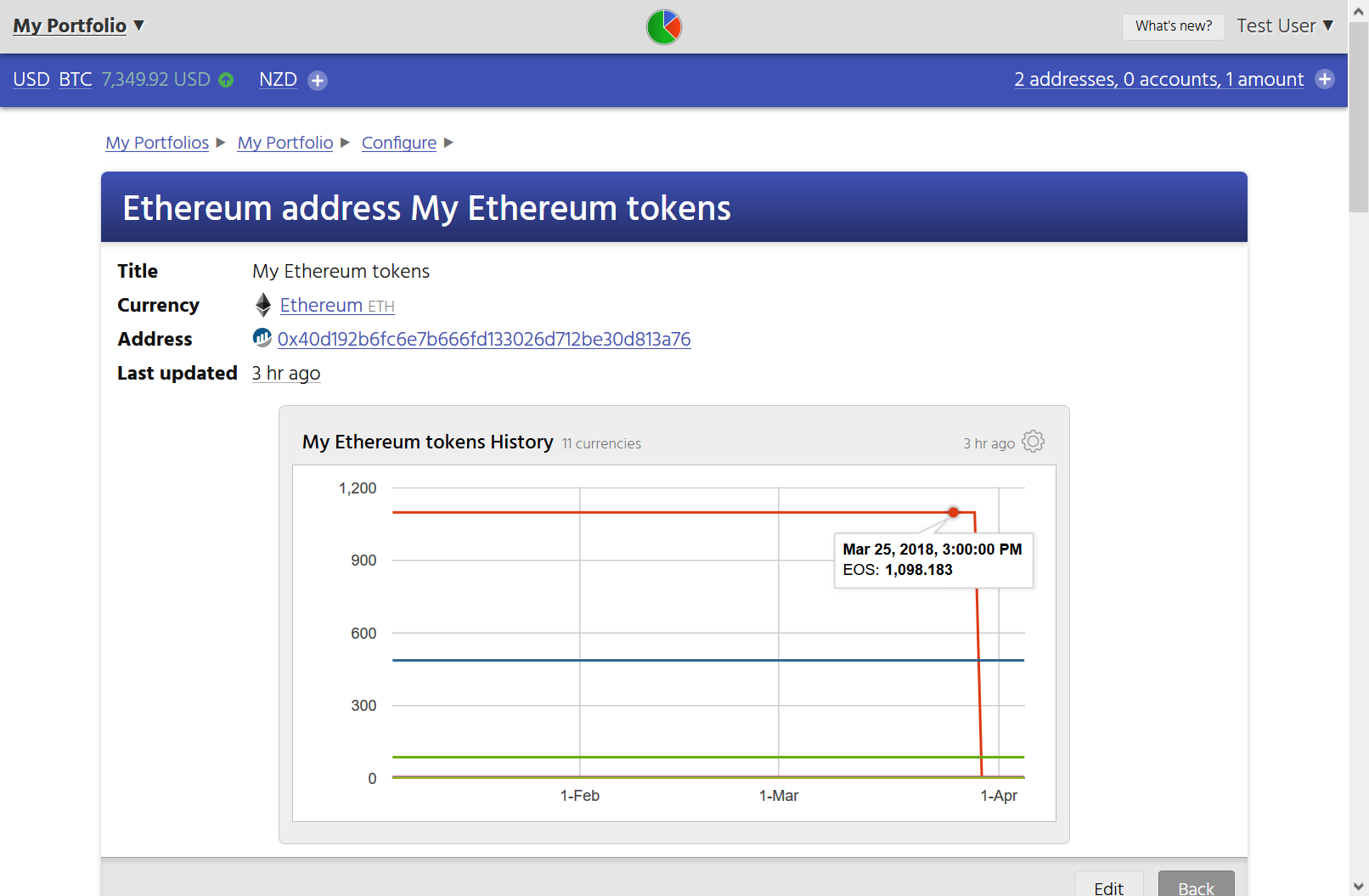 Screenshot showing that CryptFolio tracks the balances and transactions of tokens associated with an Ethereum address.