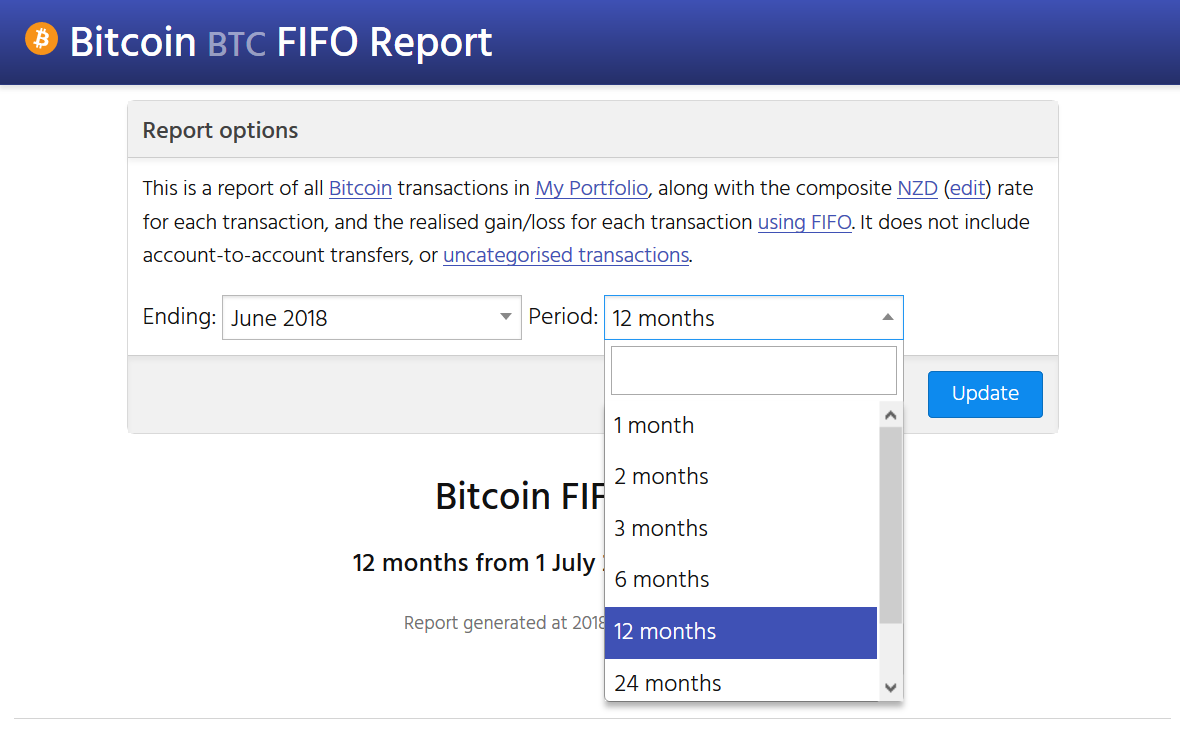Screenshot showing the CryptFolio FIFO reporting options interface. You can change the displayed period and end date of any inventory report.