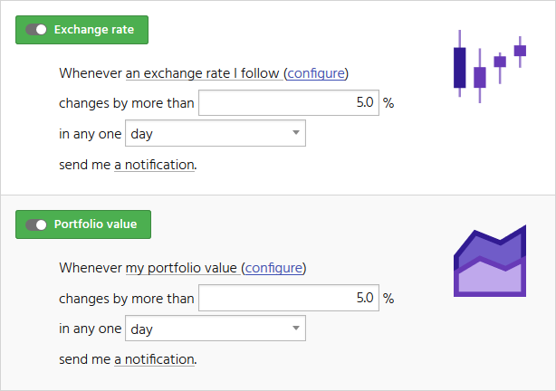 Screenshot showing the CryptFolio wizard interface to set up notifications on changes in exchange rates, and on changes in the value of a portfolio.